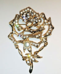 Beautiful Big Pearl and Crystal Brooch Pin