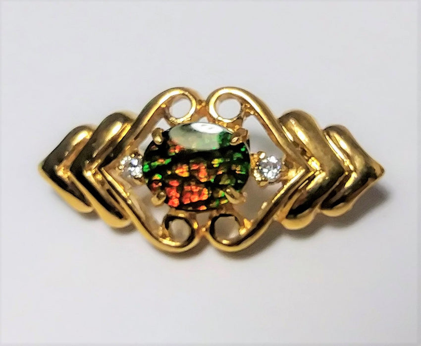 10K gold plated brooch pin with beautiful opal center piece