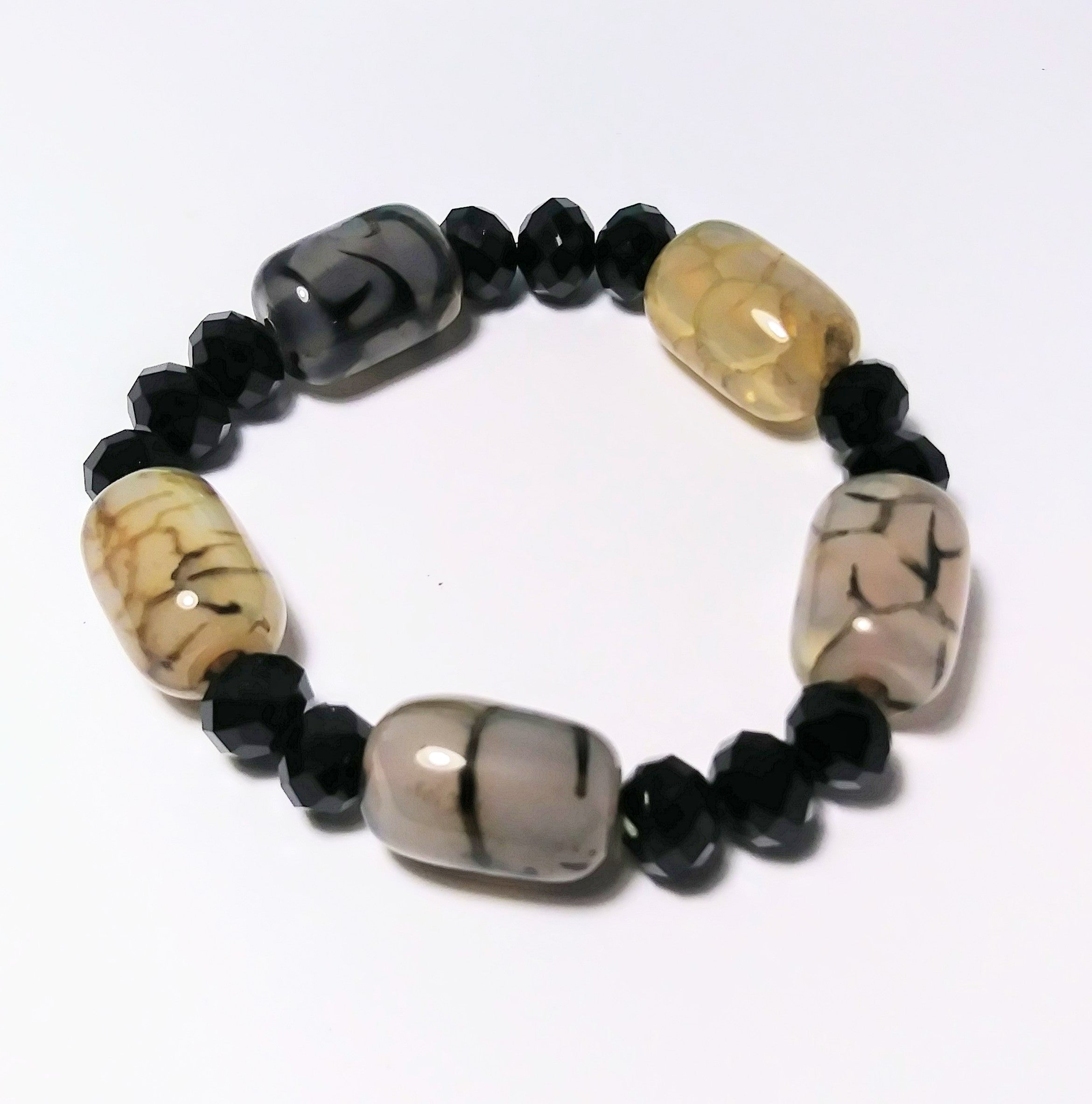 Black and white jade lucky charm bracelet