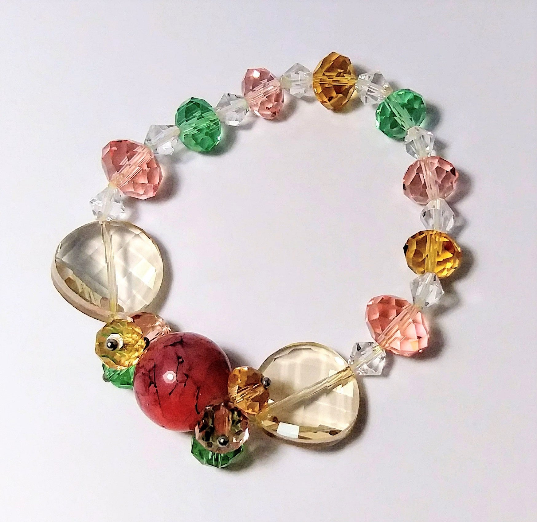 Pink and multiple color jade and gem stone bracelet