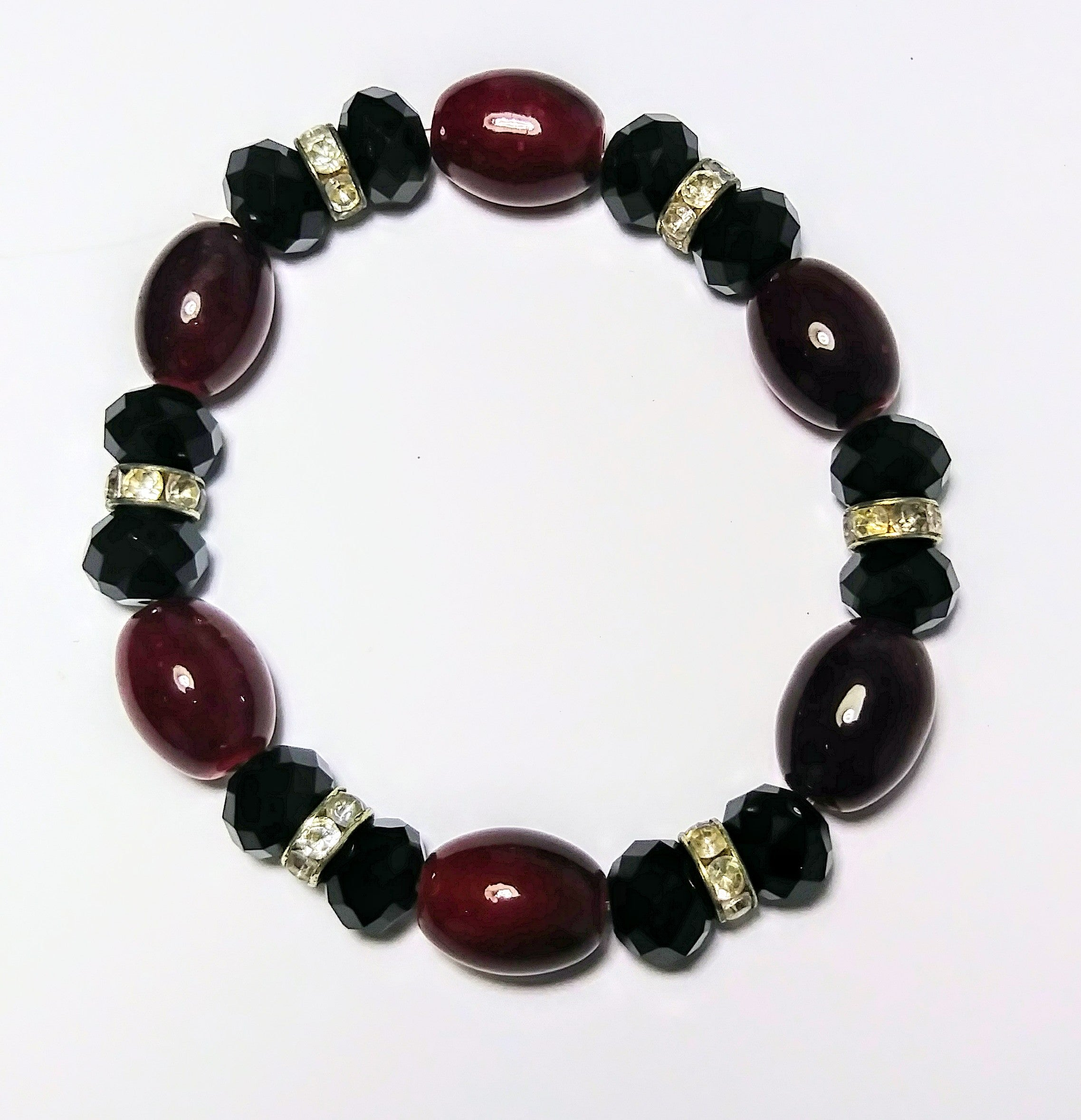 Black and red jade bean lucky charm bracelet