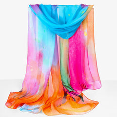 Beautiful rainbow multi-colored sheer silk scarf (75*42 inch super large size!)