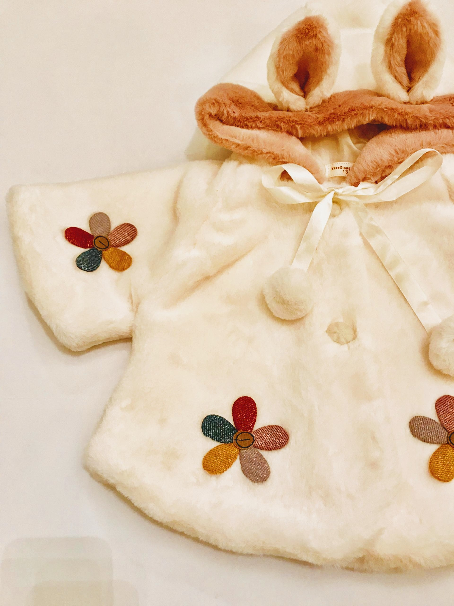 Adarable Little Flower Design Toddler Faux Fur Cape Coat with Hood