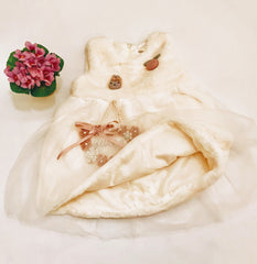 Sleeveless White beautiful Toddler faux fur dress