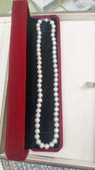 AAA grade, 8-9 mm diameter round off white cultured water pearl necklace-best deal in the market!