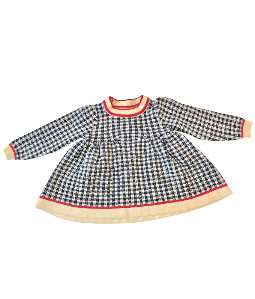 Long sleeve Toddler Plaid Pattern sweater dress