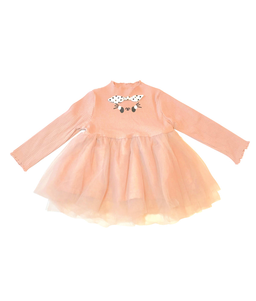 Coral Long Sleeve Toddler Tutu Dress Top