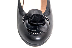 Kally-Soft and comfie leather black slip on wedge with big sparkly flower center