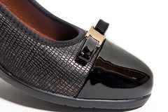 Emily -Comfortable and padded black and metallic blended wedge with golden bow tie