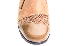 Snake skin and leather looking pattern wedge slip on shoes