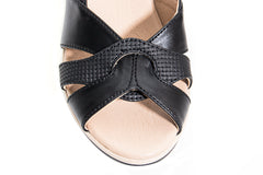 The time master piece black and white wedge summer sandal shoes