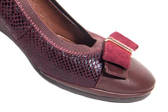 Beautiful Burgundy color comfortable wedge shoes with bow tie front