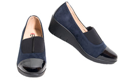Karen-Stylish navy blue soft padded wedge shoes