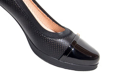 Elegant and very Soft Black breathable leather medium heel shoes (E9311)