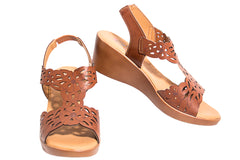 Lisa-gorgeous brown synthetic leather summer wedge sandal with flower cut outs