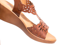 The georgous brown synthetic leather summer wedge sandal shoes with flower cut out