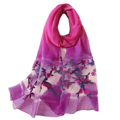 Feminine and artistic flowers long silk feeling scarf you will love (75*25 inch extra long)