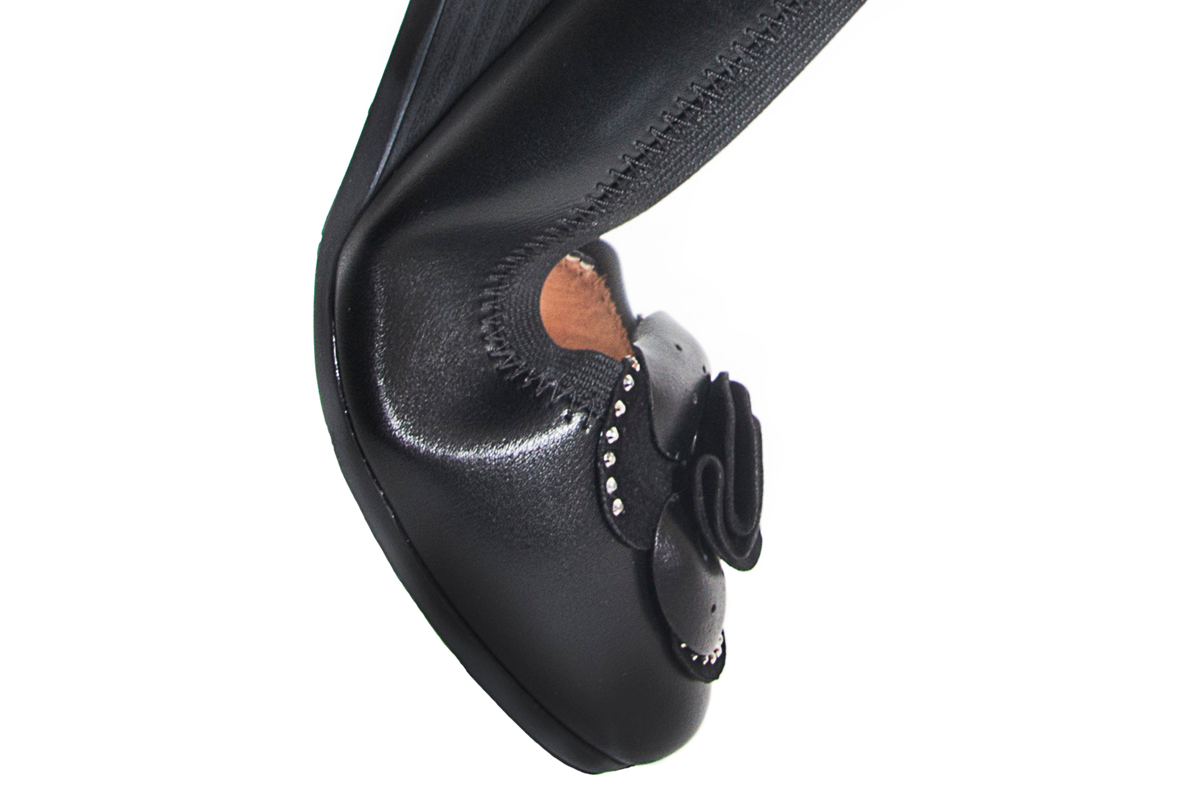 Soft and comfie leather Black color slip on wedge shoes with big sparkley flower center piece on the front