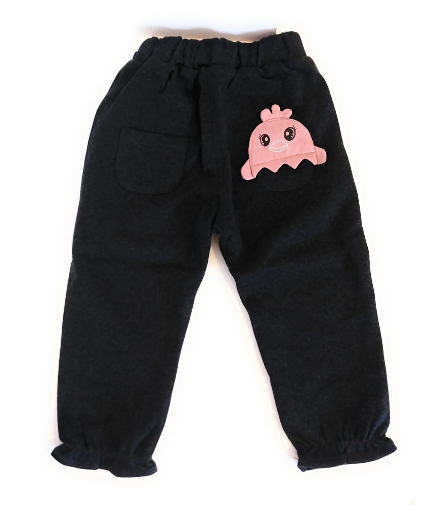 Charcoal Color Cotton Cute Toddler Penguin Pants