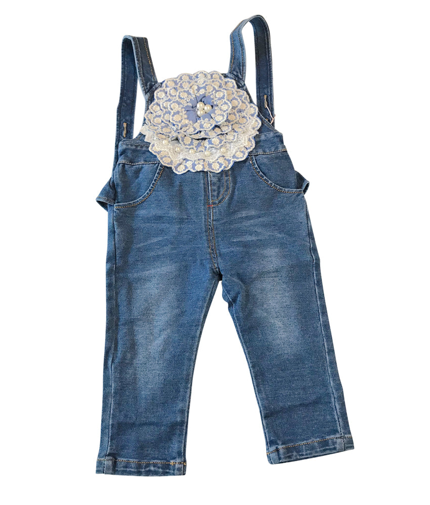 Flower center pieced toddler denim overall