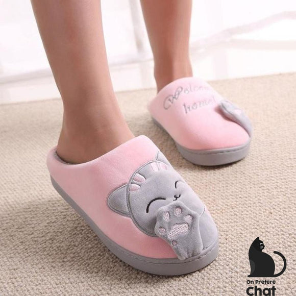 Chaussons Patte De Chat - Rose Et Gris / 45 - Pantoufles