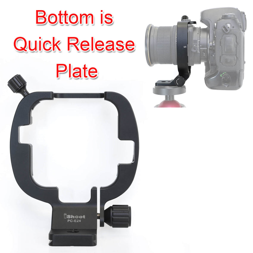 Built-in Arca Type Quick Release Plate with 1//4 and 3//8 Screw Hole for Arca-Swiss Tripod Head Camera Tripod Mount Ring Lens Collar Support Holder for Nikon PC NIKKOR 19mm f//4E ED Tilt-Shift Lens