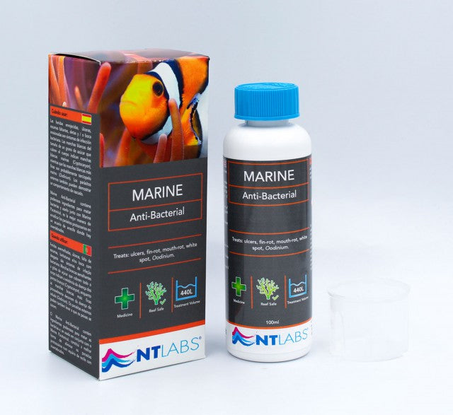 Treat: ulcers, fin rot, mouth rot, white spots, Oodinium for Marine fish.  Marine Anti-Bacterial contains powerful ingredients to kill bacteria and when used in conjunction with Marine Paratonical, is the best way of eradicating protozoan parasites in a reef aquarium.