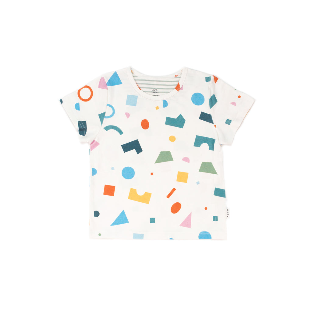 shapes multi white - t-shirt