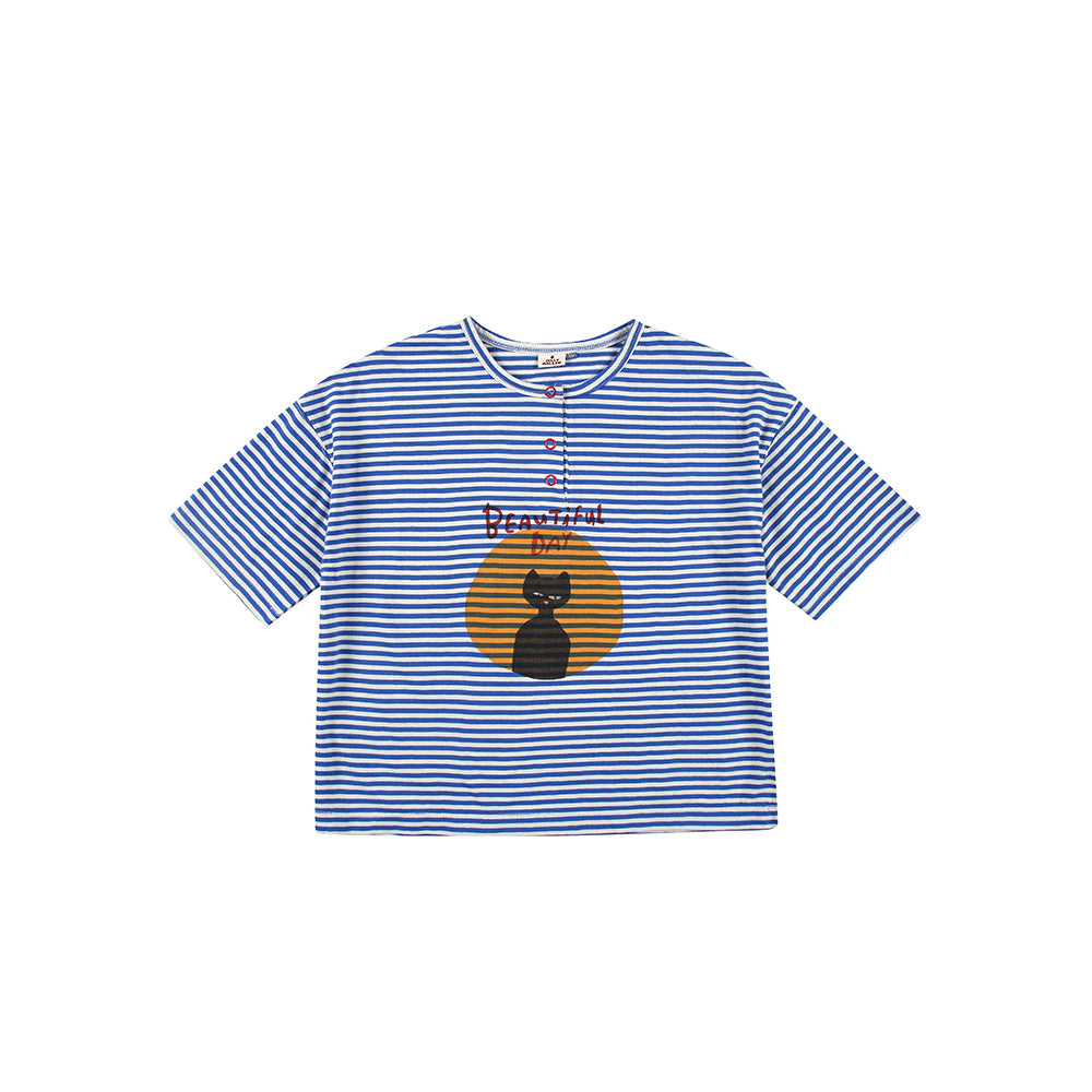 blue striped cat - t-shirt