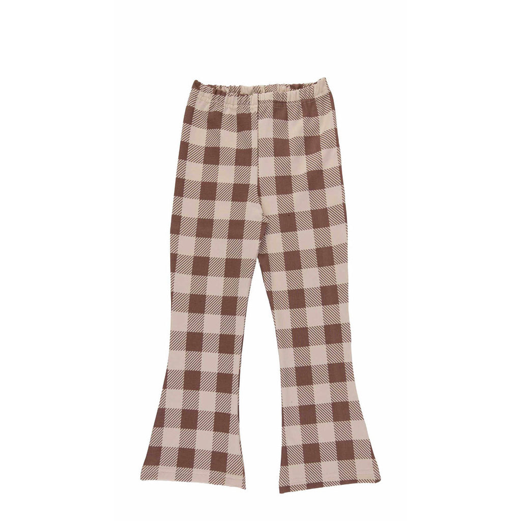 beige checker flares - pants