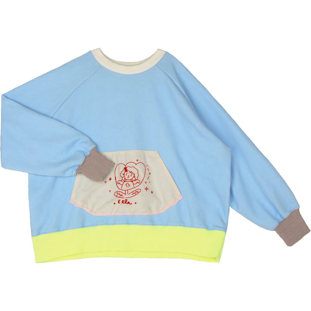 flower light blue - sweater