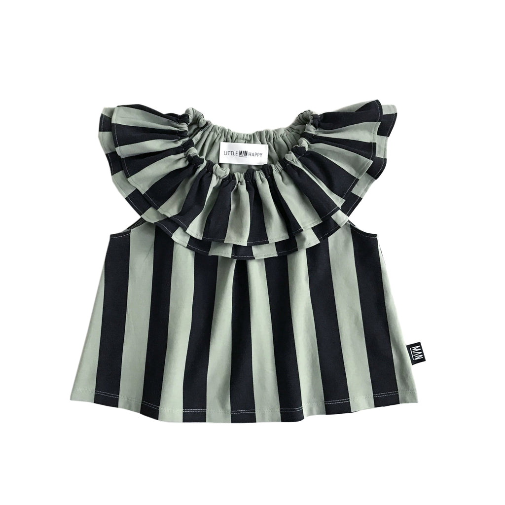 striped frill - top