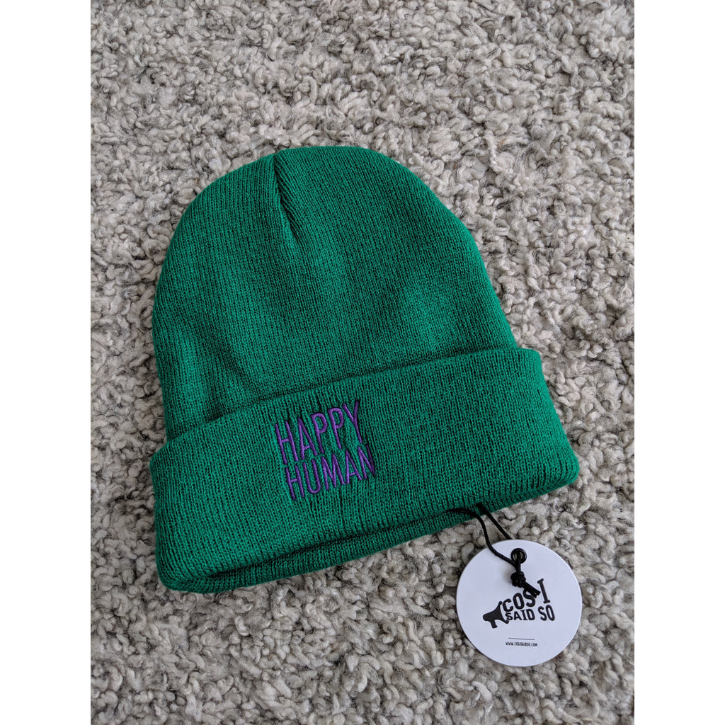 happy human green - beanie