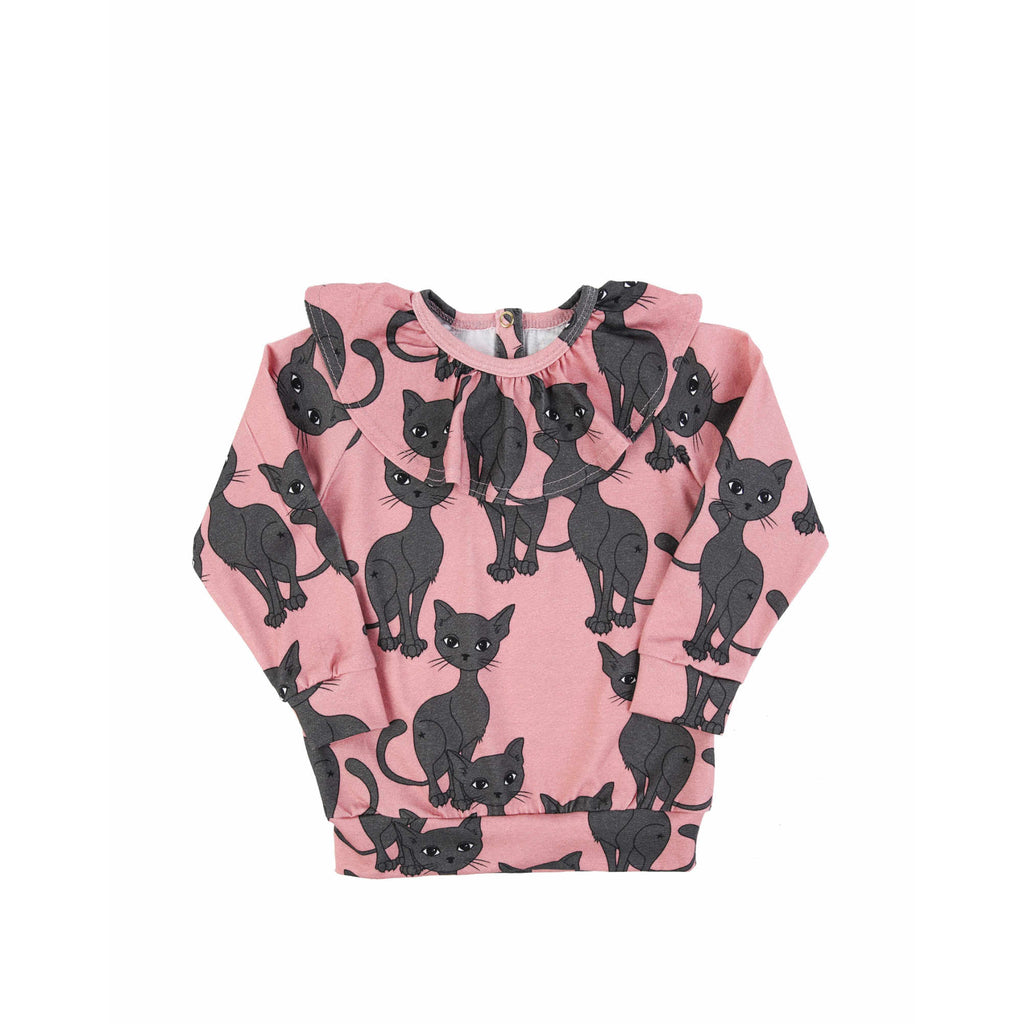 pink cat frilled ls  - t-shirt