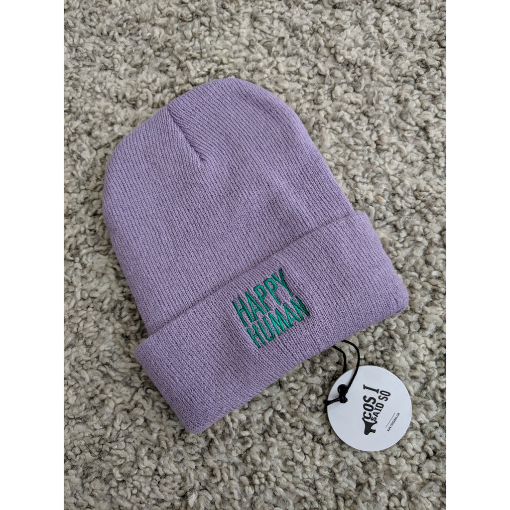 happy human lilac green - beanie