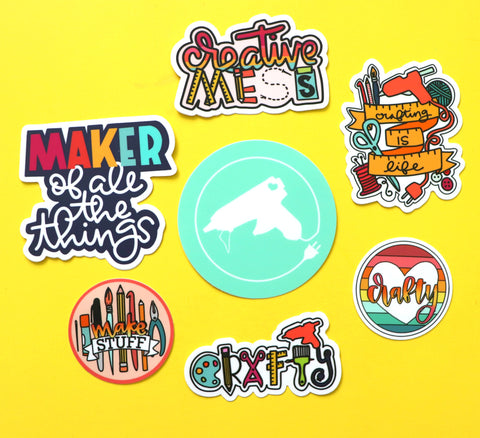 SET of 7 crafty stickers