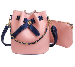 Leather Solid Color Bucket Bag with Wallet Set
