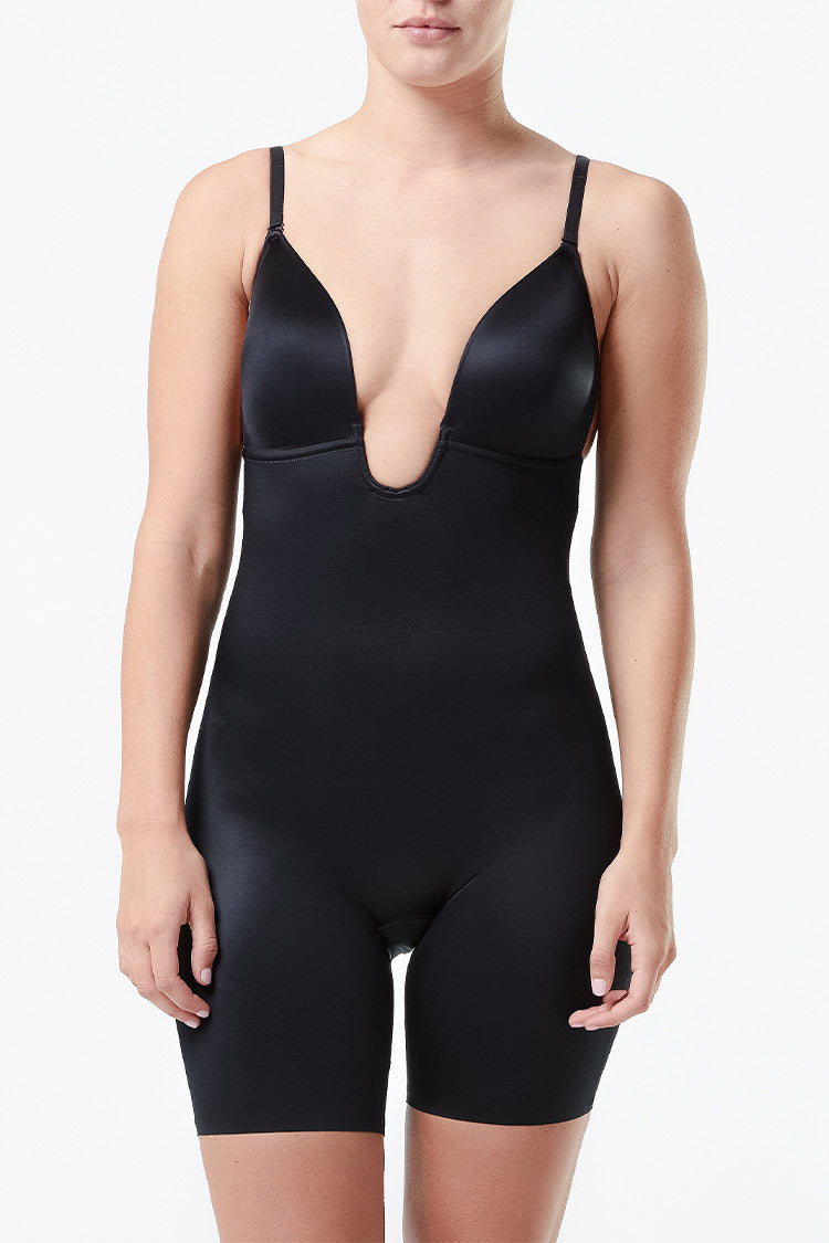 SPANX Low-Back Mid-Thigh Bodysuit Schwarz Vorne