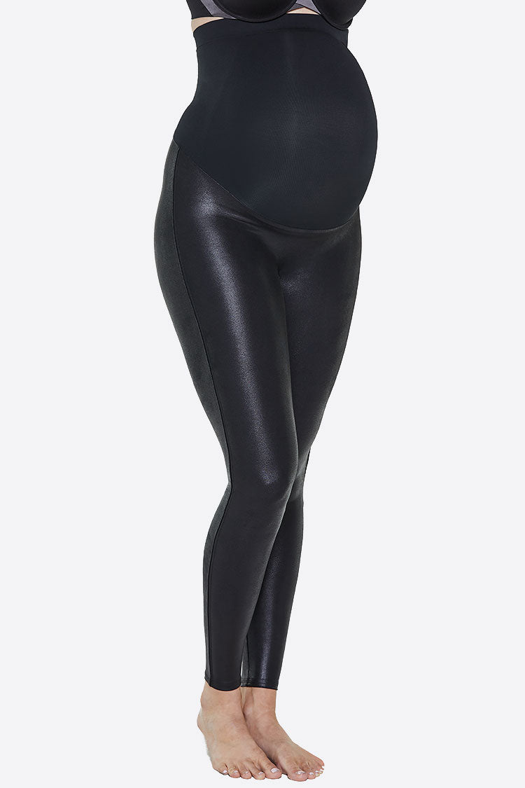 SPANX-Mama Faux Leather Leggings Shapewear Umstandsmode