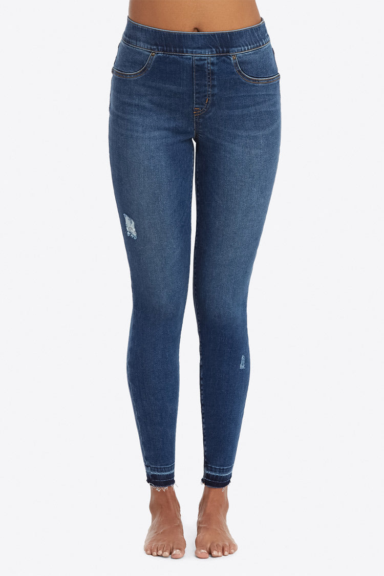 SPANX Distressed Denim Leggings Dunkelblau Vorne