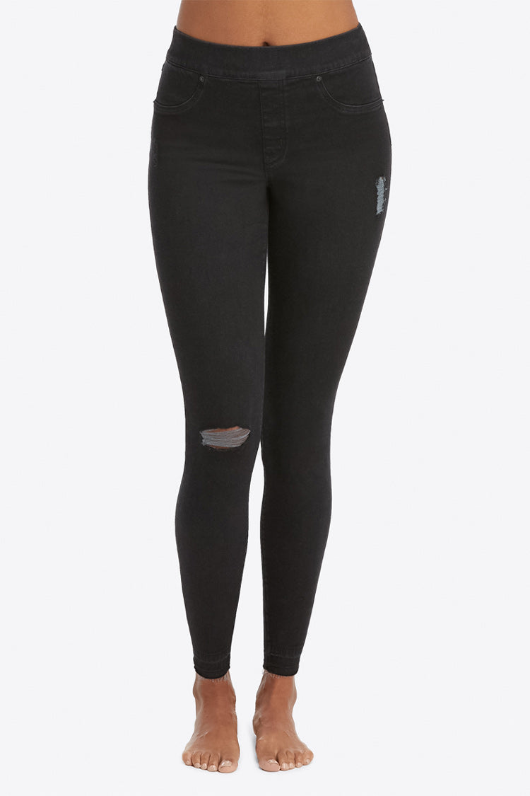 SPANX Black Distressed Denim Leggings Vorne