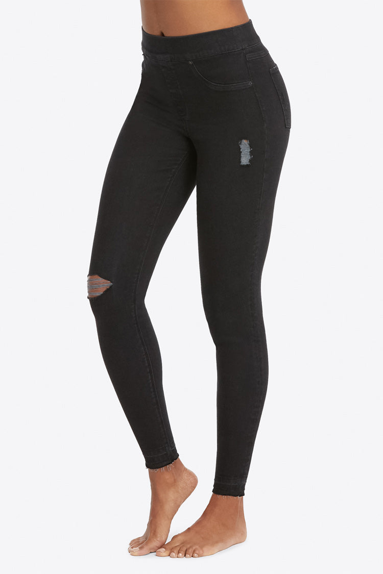 SPANX Black Distressed Denim Leggings Seite