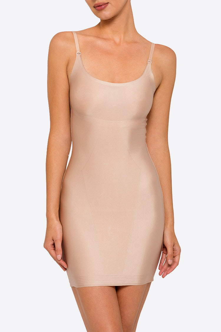 Nancy Ganz Sweeping Curves Slip Dress Nude Vorne