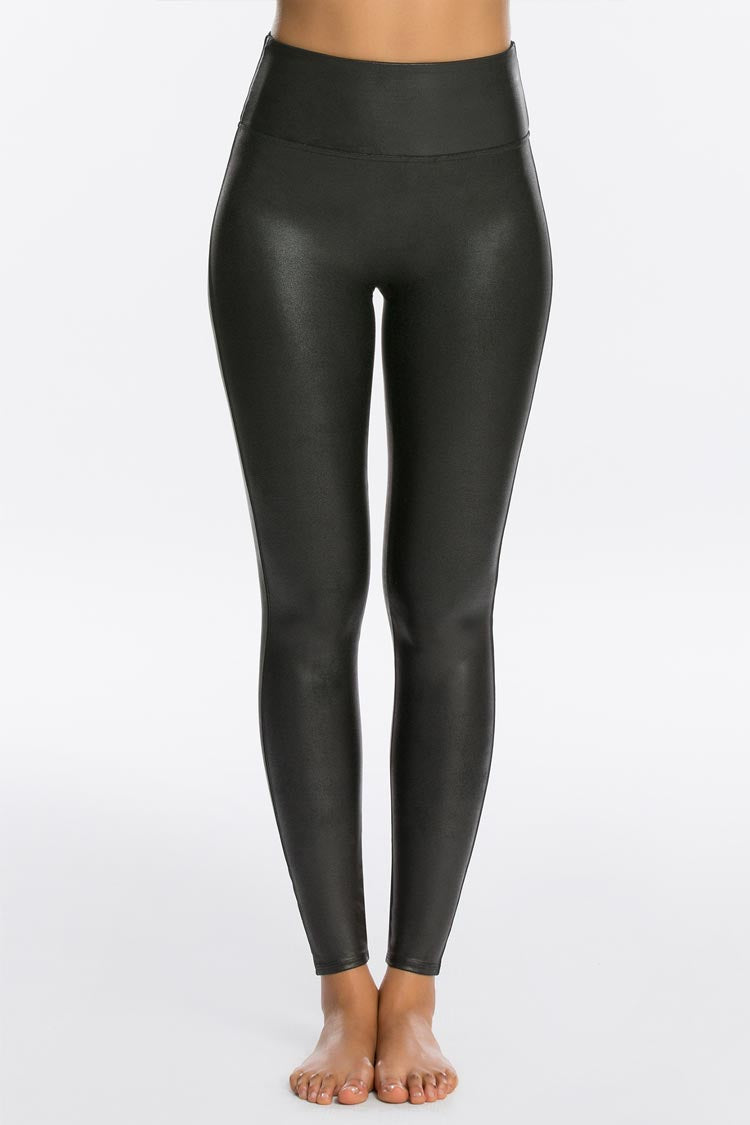 SPANX Faux Leather Leggings Schwarz Vorne