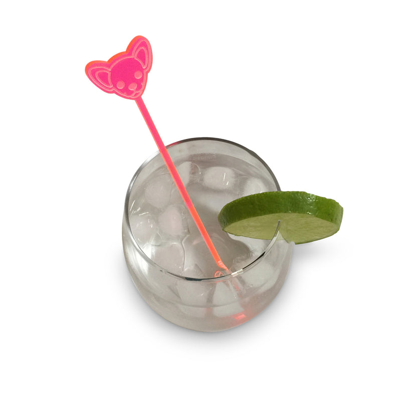 Chihuahua Drink Stirrer - Fluro Pink (Set of 6)