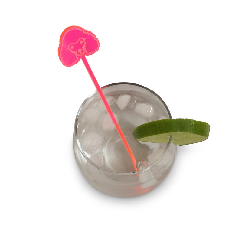 Poodle Drink Stirrer - Fluro Pink (Set of 6)