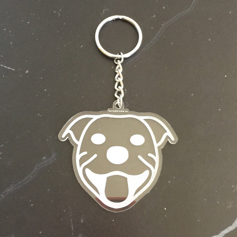hotdog.com.au | Staffy Clear Keyring