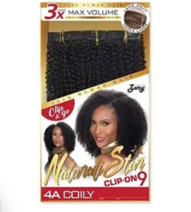 "Natural Star Clip-On 9 | 4A COILY | 14"" Human Hair"