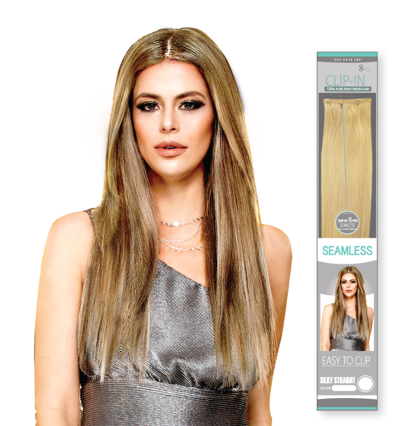 SEAMLESS SILKY STRAIGHT 8PCS CLIP-IN 613 22