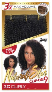 "Natural Star Clip-On 9 | 3C CURLY | 14"" Human Hair"